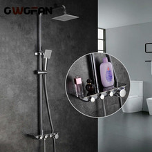 Modern Simple Bathroom Rainfall Thermostatic Shower Faucet Set Chrome Mixer Taps With Hand Shower Square Head Shower Set 88321 shower system thermostatic bath bathroom mixer shower set twin head square chrome 40x40cm hand shower