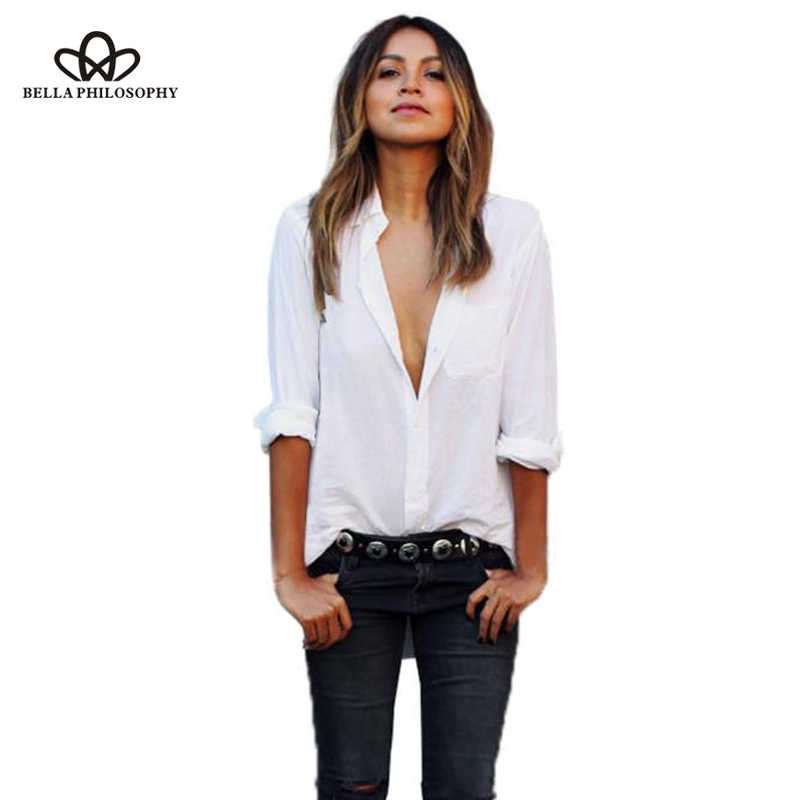 Bella philosophy 2019 autumn High Quality Solid White Blouse Long Sleeve Women Shirts Casual Tops Blouse