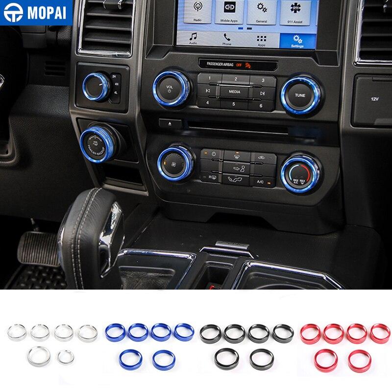 MOPAI voiture côté intérieur climatiseur interrupteur bouton anneau couvercle garniture pour Ford F150 XLT 2016 + voiture accessoires