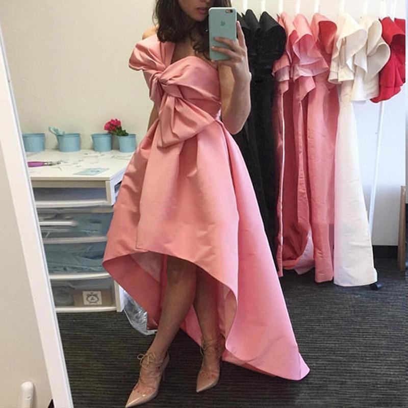 Evening     Dresses   abiye Pink Avondjurk Hi Low   Evening   Gowns Bow Off Shoulder robe de soiree Custom Made Girl Prom   Dress
