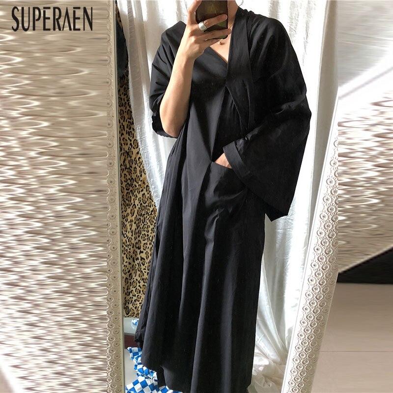 SuperAen Estate Nuovo 2019 Delle Donne Del Vestito Lungo di Colore Solido Del Cotone Delle Signore di Modo Del Vestito Europa Casual Selvaggio Delle Donne di Abbigliamento-in Abiti da Abbigliamento da donna su  Gruppo 1