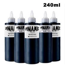 Dynamische 240Ml Professionele Black Tattoo Inkt Voor Body Painting Art Natuurlijke Plantaardige Micropigmentation Pigment Permanente Tattoo Inkt
