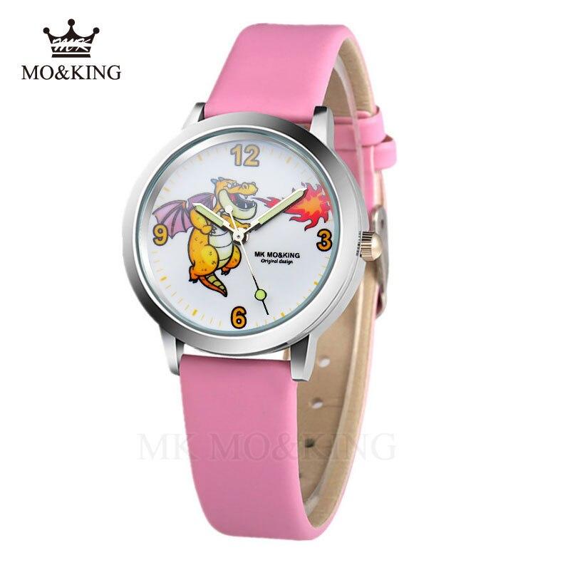 Hot Sales Children's Watches 3D Spitfire Dinosaur Luminous Hands Leather Pu Quartz Wristwatches Boys And Girls Watch Clock