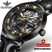 OUPINKE العلامة التجارية الفاخرة الأسود التلقائي ساعة ميكانيكية للرجال الهيكل العظمي شفافة الرجال الساعات موضة جلدية ساعة مقاوم للماء