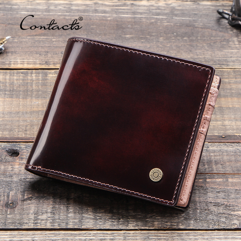 CONTACT'S Brush-off Leather Wallet Men Vintage Bifold Card Holder Wallets Male Money Bag Cow Leather Coin Purse 2020 Portfel