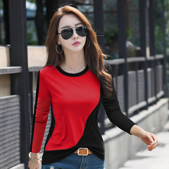 New 2020 Female T-shirt Contrast Color Long Sleeve T Shirt Women Autumn Winter T-Shirts For Women Patchwork Tshirt Casual Top
