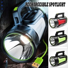 200-800W Bright Powerful LED Searchlight Handheld Flashlight Power Bank Rechargeable Battery Waterpr