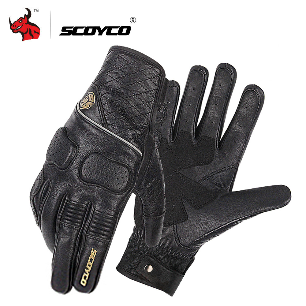 SCOYCO Retro Perforated Motorcycle Gloves Summer Breathable Leather Guantes Moto Men Motocross Gloves Luvas Da Motocicleta