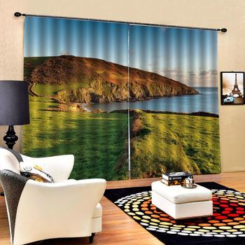 stereoscopic curtains  Customized size Luxury Blackout 3D Window Curtains For Living Room green landscape curtains