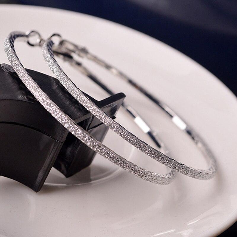 Hot 1pair New 5CM Hoop Round  Earrings Fashion Big Elegant Simple Pierced Silver/Gol Evening Party 2016