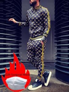 2020 New Mens Sets 2 Piece New Men' s Fashion Jacket and Sport joggers Pants Set Tracksuit Men Casual Sports Suit M-XXL