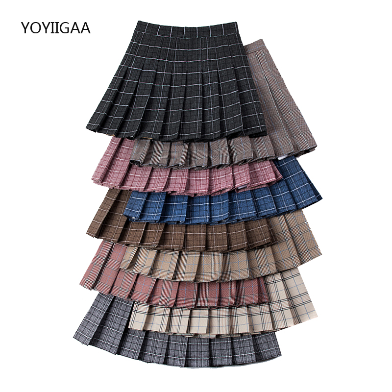 High Waist A-Line Women Skirt Pleated Sailor Plaid Skirts Slim Waist Sweet Girls Dance Skirt Sexy Mini Pleated Skirts for Womens