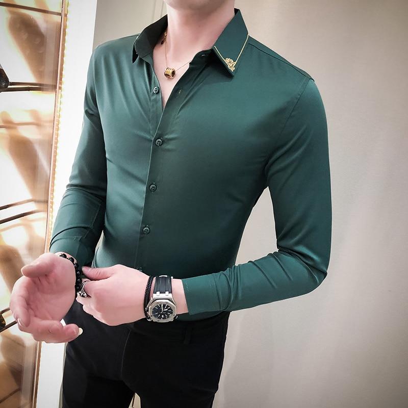 Sexy Unique Shirt Black Grey White Green Long Sleeve Camisa Social Masculina Men Dress Designer Shirt Men Slim Fit Shirts Casual