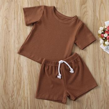 2020 Casual Newborn Boys Clothes Knit Ribbed Two Piece Set Shirt Crop Top + Pants Baby Summer