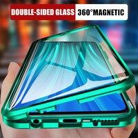 360 caixa de metal de adsorção magnética para xiaomi redmi note 9 8 7 k20 pro 8t 8a mi nota 10 lite 9t pro f1 capa de vidro de dupla face