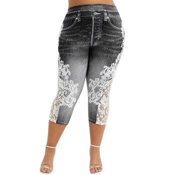 Pantalones vaqueros de imitación de vaquero Leggings para mujer Jeggings talla grande de encaje estampado empalme medio-pantorrilla lápiz pantalones de cintura alta Legging Sweatpants