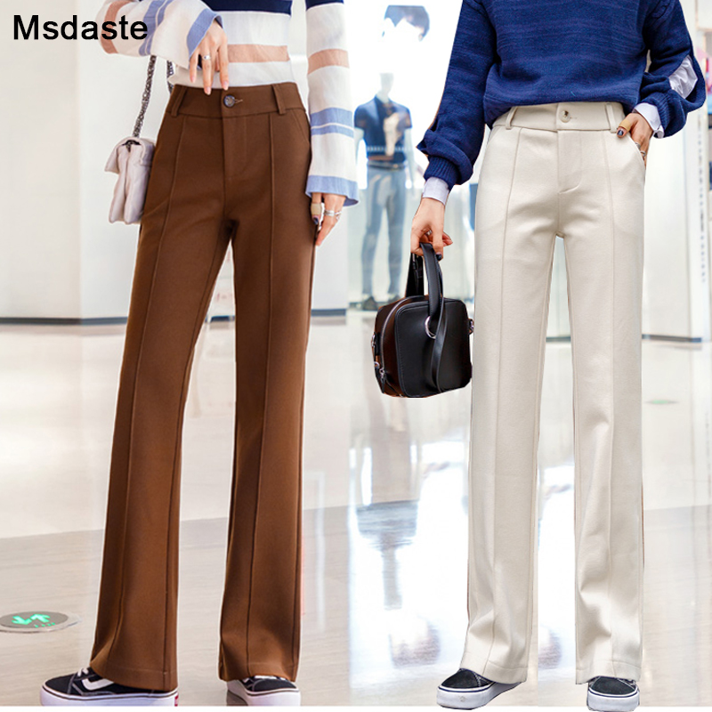 Woolen Wide Leg Pants Women Flare Trousers 2019 Winter High Waist Pantalon Casual Female Pants Solid Loose Womens Legs Trousers