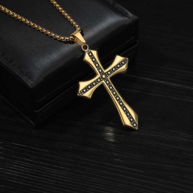Mężczyźni wielki krzyż naszyjnik duże złote krzyż zawieszki charms Fine Jewelry czarny piątek oferty Colar Masculino 2019
