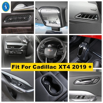 For Cadillac XT4 2019 2020 2021 Inner Door Handle Bowl Frame / Roof Reading Lights Lamps Cover Trim Carbon Fiber ABS 1