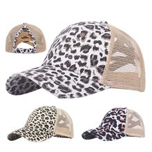 Baseball-Cap Sports Women Summer Mesh Patchwork Hiking-Hat Leapord Breathable Outdoor