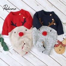 Рождественские боди с оленем для маленьких мальчиков; вязаные комбинезоны для малышей; новогодний костюм для маленьких девочек; детская теплая шерстяная одежда; От 0 до 2 лет