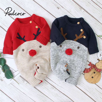 Baby Boys Christmas Rompers Reindeer Knitted Infantil Jumpsuits Toddler Girls New Years Costume Children Warm Wool Clothes 0-2Y