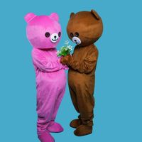 Pink Brown Bear & Rabbit Mascot Costume Suits Cosplay Party Game Dress Outfits Clothing Carnival Halloween Xmas Easter Adults