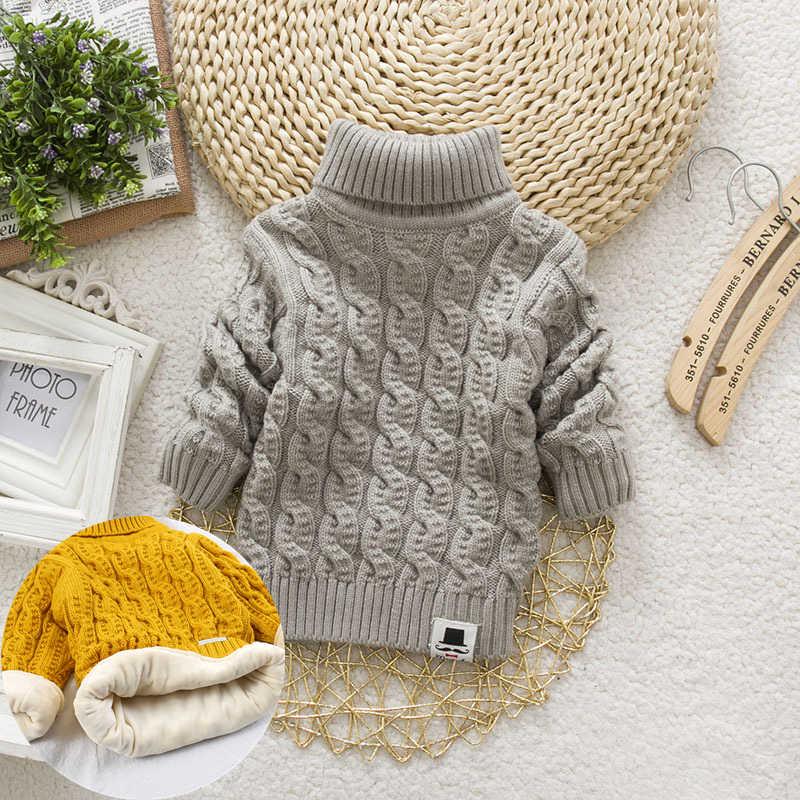 PHILOLOGY/однотонная зимняя одежда с плюшевой подкладкой для мальчиков и девочек; плотные трикотажные рубашки с высоким воротником; Однотонный пуловер с высоким воротником; Пушистый свитер
