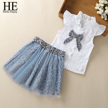 HE Hello Enjoy Girls Clothes Sets New Summer Sleeveless T-shirt+Print Bow Skirt 2Pcs for Kids Clothing Baby Clothes Outfits 2-6Y цена 2017