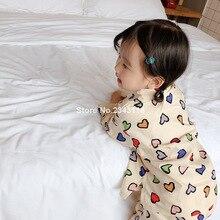 Детские хлопковые цветные с принтом «сердце», рубашка с длинными рукавами+ Штаны 2 шт. комплекты одежды для маленьких девочек; одежда с Повседневное наборы домашней одежды, пижама