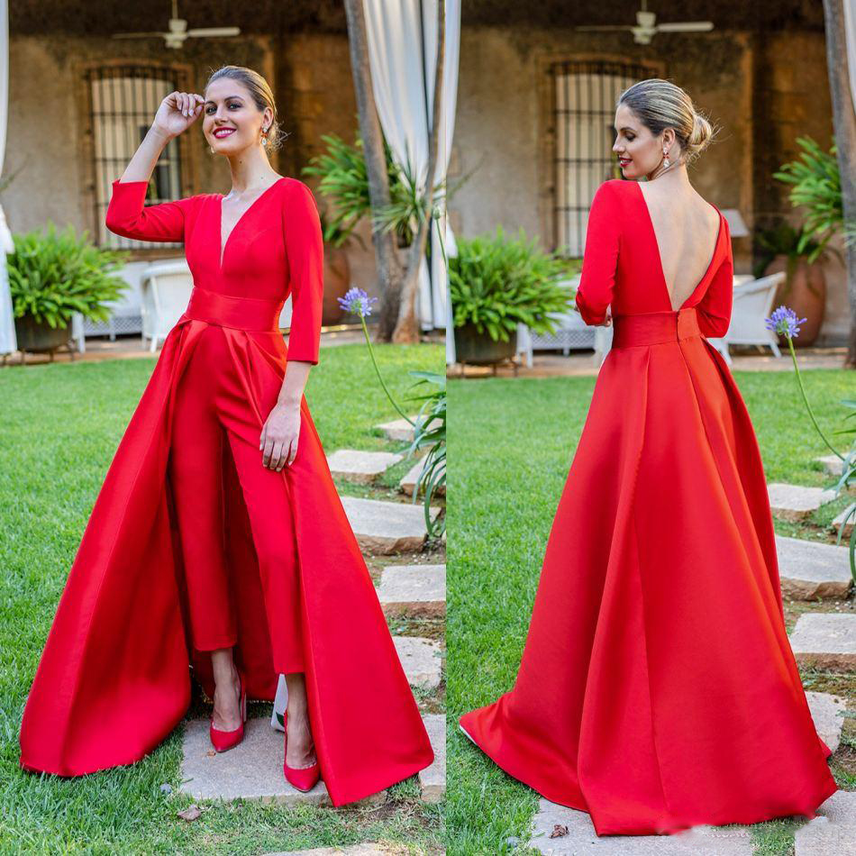 Red Jumpsuits Formal Evening Dresses With Detachable Skirt V Neck Backless Prom Dresses Party Wear Pants For Women Custom Made