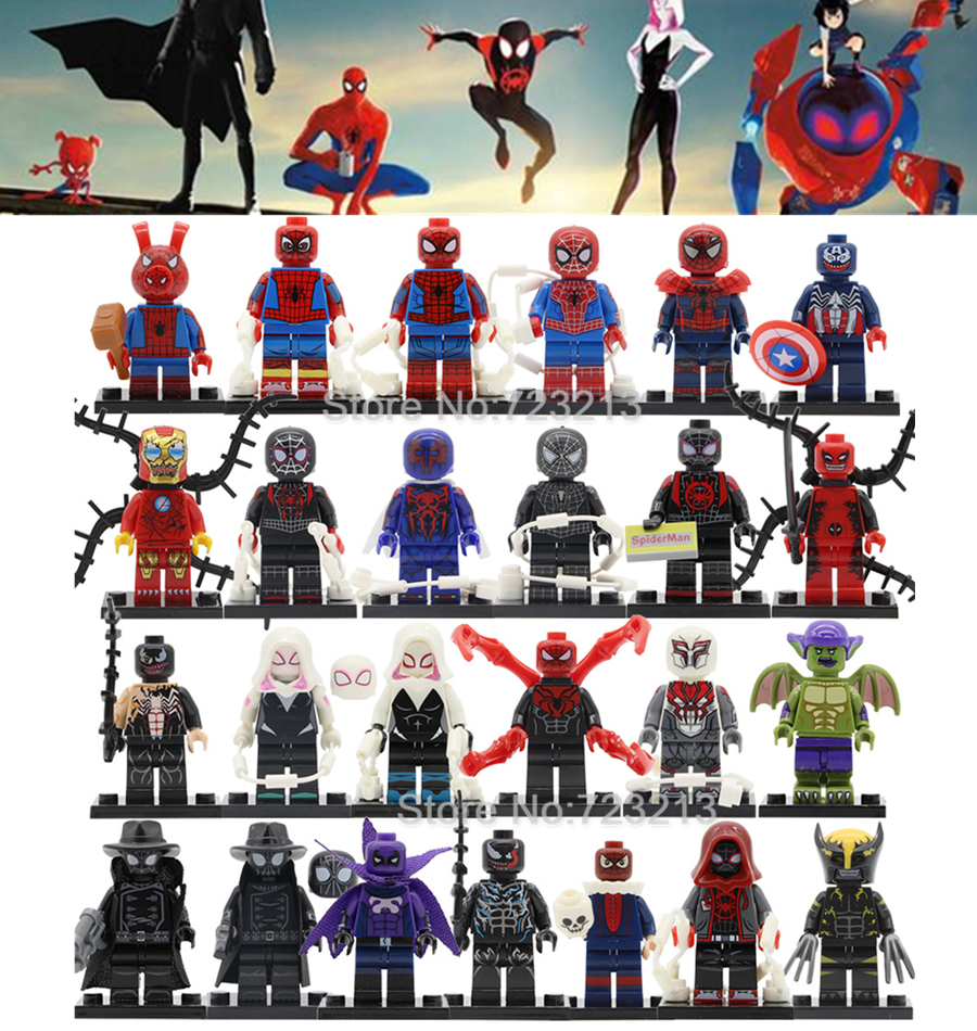 Single Super Hero Figure Miles Morales Spider-Ham Prowler Spiderman Shadow Gwen Ultimate Iron Building Blocks Toys Legoing