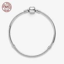 925 Sterling Silver Bracelet Moments Snake Chain Bracelet Fit Charms Women Snake Chain Bracelet DIY Jewelry Luxurious цена и фото