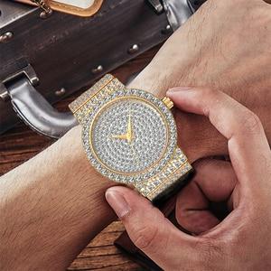 Image 5 - MISSFOX Marke Einzigartige Uhr Männer 7mm Ultra Dünne 30M Wasserdicht Iced Out Runde Teuer 34mm Schlank handgelenk Mann Uhr 2562