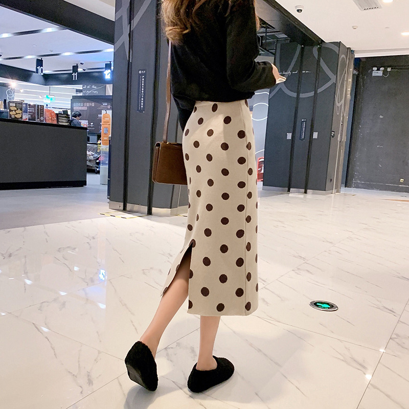 Customizable 2019 Spring New Style Korean-style Ulzzang One-step Skirt High-waisted Polka Dot Knitted Skirt F5654