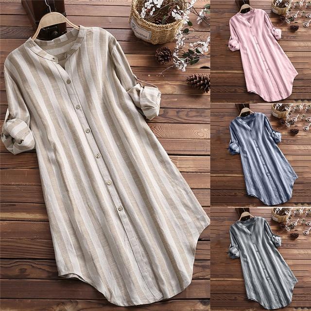 Loose Maternity Blouse Long Sleeve Nursing Shirt 2020 Linen Pregnant Women Stripe Breastfeeding Long Blouses Pregnancy Clothings