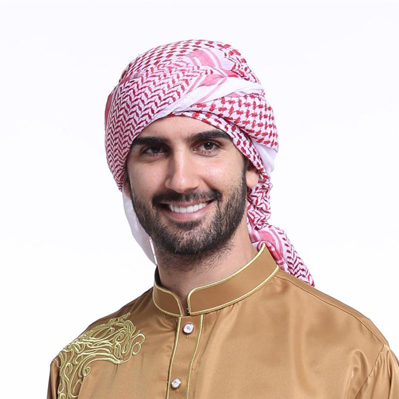 55 Inch Men Arab Keffiyeh Turban Thick Muslim Hijab Polyester Arafat Scarf Middle East Desert Shemagh Wrap Headwear