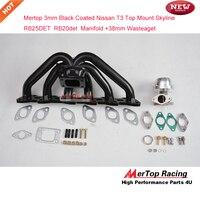 Mertop 3mm thick Black coated T3 Flange Top Mount Sky line R32 R33 RB20DET RB20 RB25 RB25DET Manifold+38 wastegate