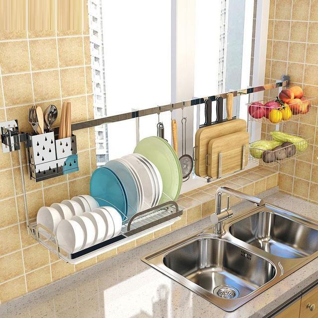 Rangement organisation egouttoir à vaisselle organisador Cocina acier inoxydable Cozinha accessoires de Cuisine Rangement Cuisine support étagères 1