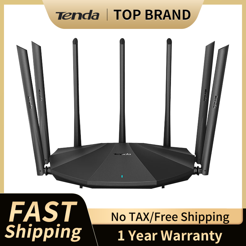 Tenda AC23 AC2100 Router Dual-Gigabit 2.4G 5.0GHz Dual-Band 2033Mbps Wireless Router Wifi Repeater & 7 High Gain Antennas Wider 1