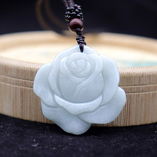 Certified 100% Natural A Jadeite Jade Emerald Carved Rose Flower Pendant Couples Lovers Necklace Pendants For Men Women Jewelry(China)