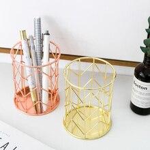 Новая офисная коробка для хранения, настольная полая цилиндрическая ручка, карандаш, кисть, горшок, ручка, держатель, Кисть для макияжа, пластиковый контейнер для дома