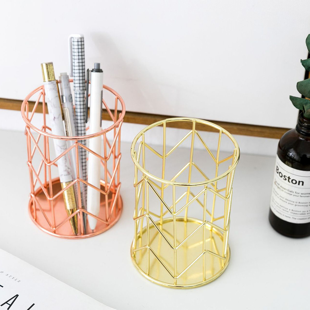 New Office Storage Box Desktop Hollow Cylindrical Pen Pencil Brush Pot Pen Holder Makeup Brush Plastic Container Household