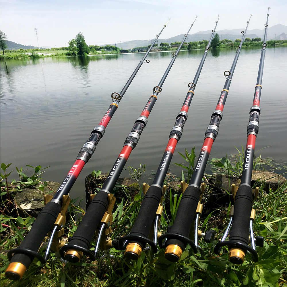 Canne à pêche télescopique Super dure 99% Fiber de carbone 2.1-3.6M pôle de filature de carbone bâton de pêche en mer anneau en métal