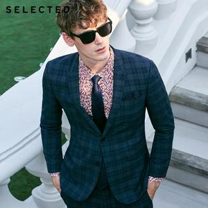 SELECTED Men's Dark Plaid Closure Collar Blazer Slim-fit Business Jacket Clothes T | 41915X503