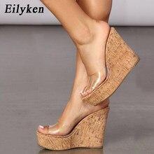 Eilyken 2021 novo verão pvc transparente plataforma cunhas sandálias moda feminina salto alto sapatos de verão tamanho 41 42
