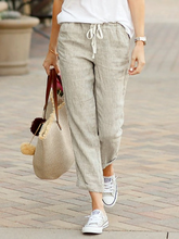 Solid Lady Casual Trousers Drawstring Elastic Waist Cotton Linen Women Trousers Straight Ankle Length Women Oversize Pants 3XL