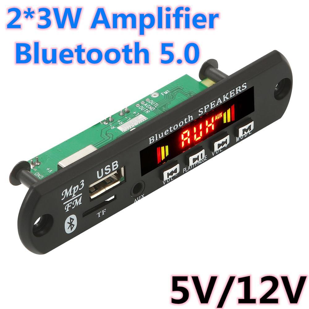 Hands-free MP3 Player Decoder Board  Bluetooth 5.0 6W amplifier Car FM Radio Module Support FM TF USB AUX Recorders