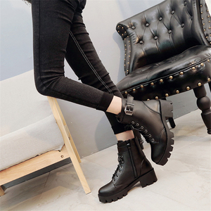Image 3 - Fashion Leather Martens Boots Women shoes Winter Warm Lace up Ankle Boots For Woman High Quality Waterproof Platform Boots Drop