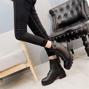 Image 3 - Moda skórzane Martens buty damskie buty zimowe ciepłe sznurowane botki dla kobiety wysokiej jakości wodoodporne buty na platformie Drop